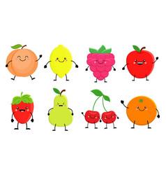 set of cute cartoon fruit lemon orange apple vector image