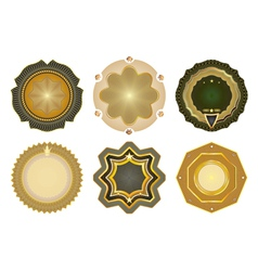 Set of gold-framed labels vector