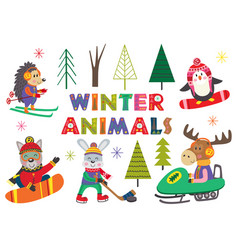 Set of isolated winter fun with animals part 2 vector