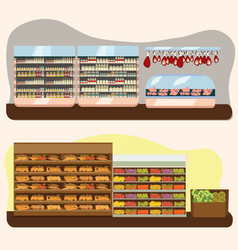 set of supermarket departments fruit and milk vector image