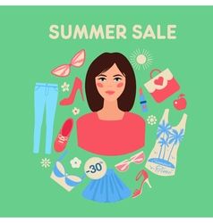 Shopping Summer Sale in Flat Design with Woman vector image