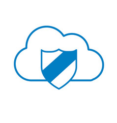 silhouette cloud data center with security shield vector image