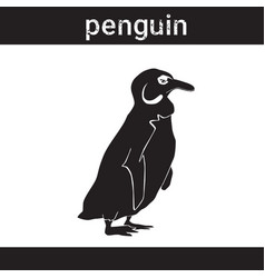 Silhouette penguin in grunge design style animal vector