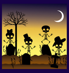 Silhouettes of skulls in graveyard vector