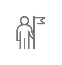 Simple business man with a flag line icon symbol vector