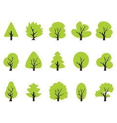 simple green tree icons set vector image