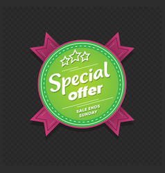 special offer sticker sale ends sunday retail tag vector image