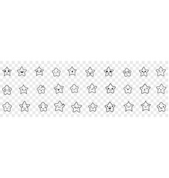 stars with emoji faces doodle set vector image