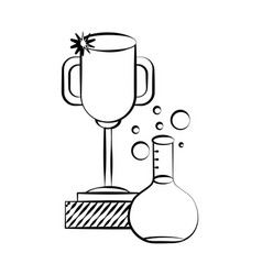 test tube and trophy back to vector image