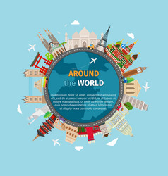 Travel around the world postcard vector