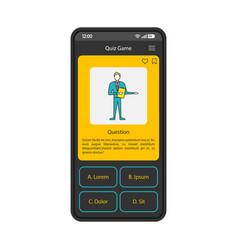 Trivia quiz game app smartphone interface template vector