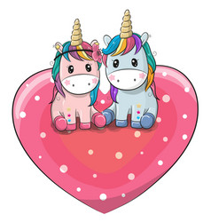 two cute unicorns are sitting on a heart vector image