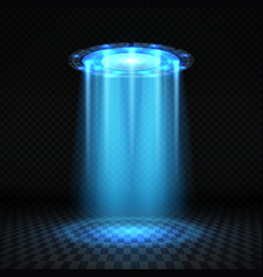 ufo blue light beam futuristic alien spaceship vector image