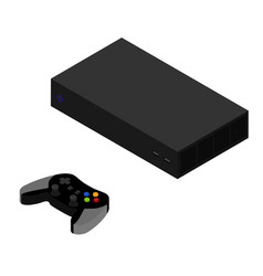Video game console and controller isometric view vector