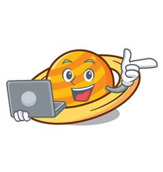 With laptop planet saturnus character cartoon vector