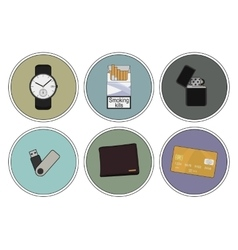 Every day carry detailed icons set vector image vector image