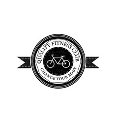 fitness club logo or badge vintage style vector image