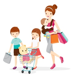 Mother And Children Shopping Together vector image vector image