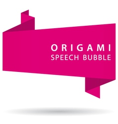 pink origami speech bubble vector image vector image