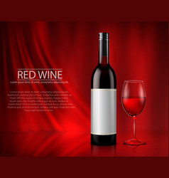 Set of realistic of glass wine vector