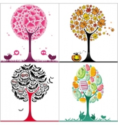trees set vector image