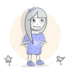 young happy girl smiling modestly looking up vector image vector image
