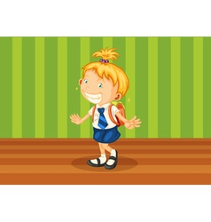 a girl with schoolbag vector image