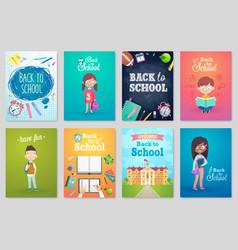 back to school card set school kids chalkboards vector image vector image