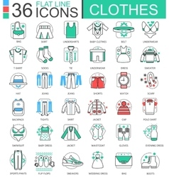 Clothes shoes flat line outline icons for vector image vector image