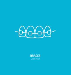 Dentist orthodontics line icon of braces teeth vector
