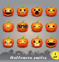halloween smiles-set 1 vector image