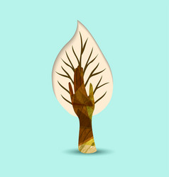 hand tree nature art for environment help vector image
