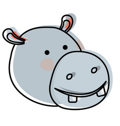 hippopotamus cartoon head in watercolor silhouette vector image