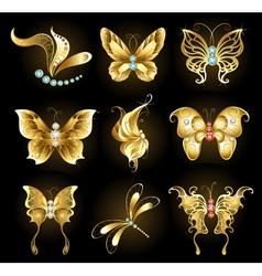 Set of golden butterflies vector image vector image