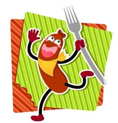 cartoon sausage vector image vector image