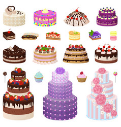 collection of tasty cakes on vector image