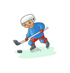 happy little boy playing hockey winter activity vector image
