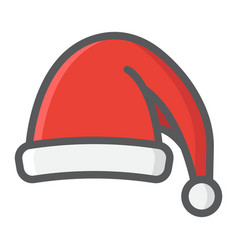 santa hat filled outline icon new year christmas vector image vector image