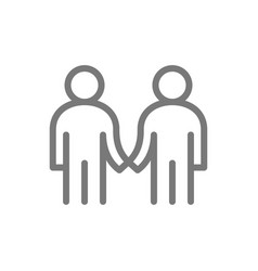 simple two business people handshake line icon vector image