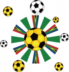 soccer ball flags vector image