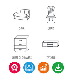 Sofa chair and chest of drawers icons vector