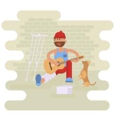 Strolling musician Homeless man vector image vector image