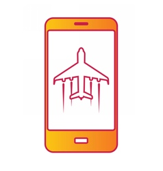 Cellular phone with flight mode sign on screen vector image