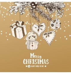 Christmas card with Stylish sketches vector image vector image