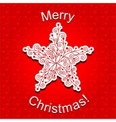 Red Christmas Star Snowflake Greeting Card vector image