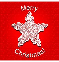 Red Christmas Star Snowflake Greeting Card vector image vector image