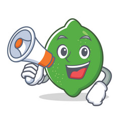 With megaphone lime character cartoon style vector