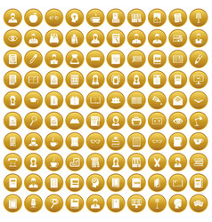 100 reader icons set gold vector