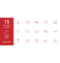 15 service icons vector image