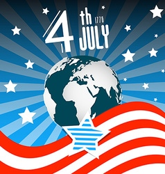 4 th July Independence Day American Flag with vector image